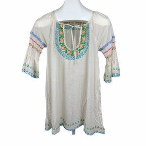 Anthropologie Lilka Embroidered Boho Tunic Top XS